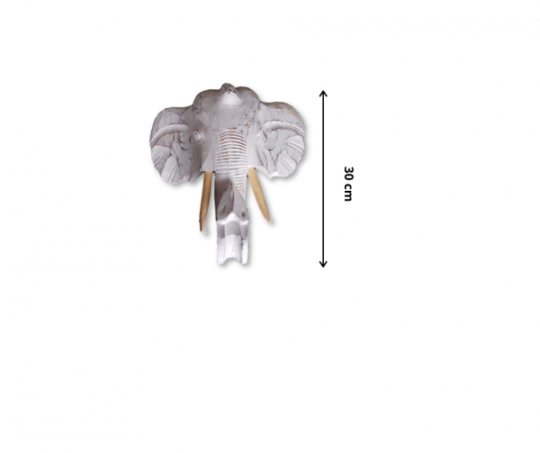 Elephant Wooden Sculpture - White Colour