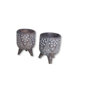 Tribal African Resin Pot Planters