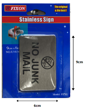 Fixon Stainless Adhesive No Junk Mail Sign 90x60x2mm