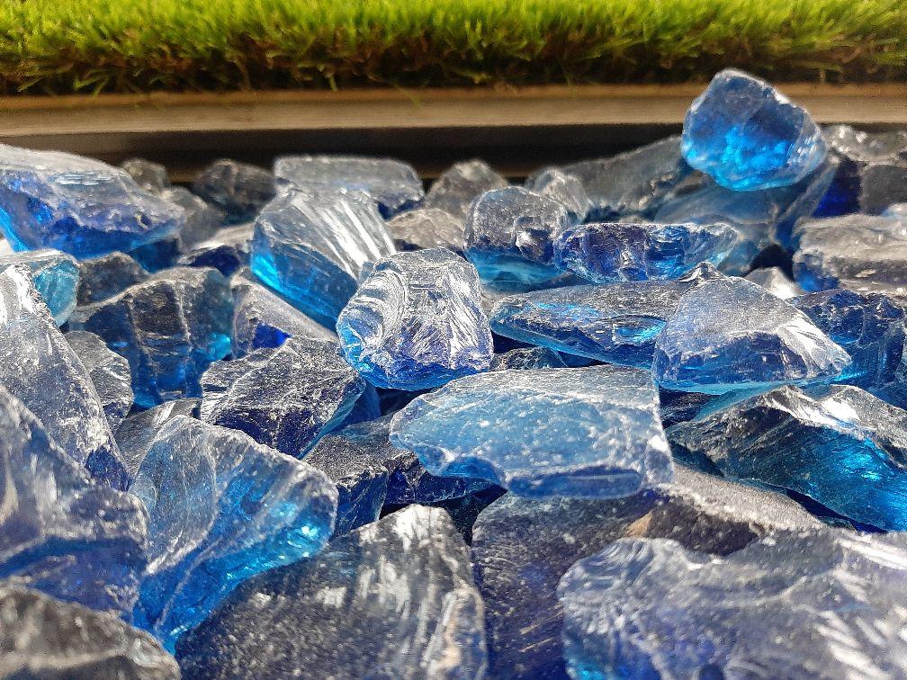 Blue Glass Pebbles 3-5 cm